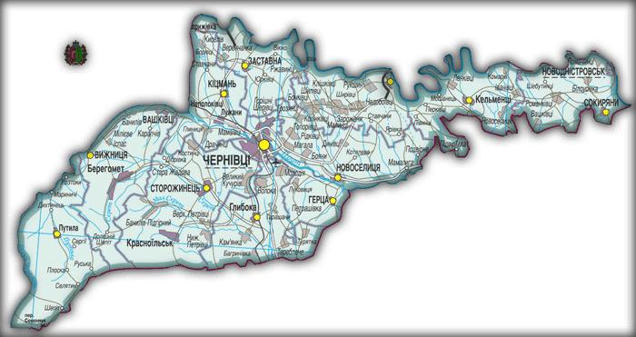 Карта Черновицкой области