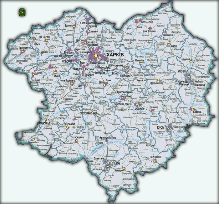 Карта Харьковской области