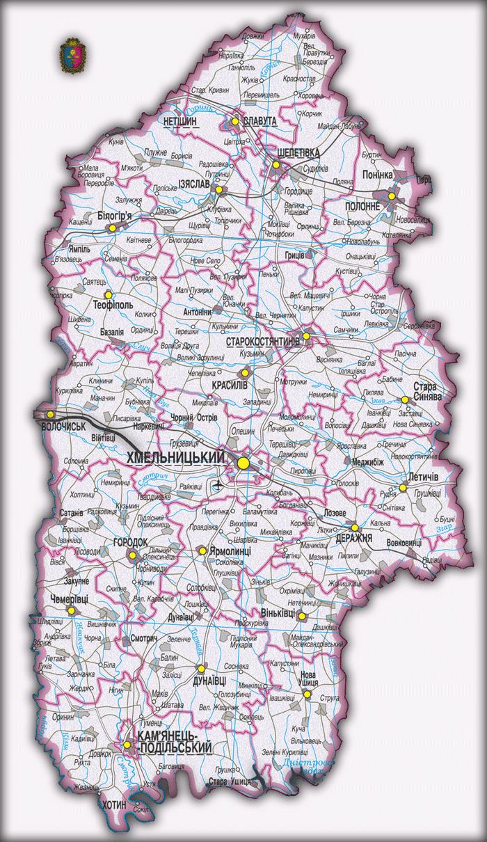 Карта Хмельницкой области