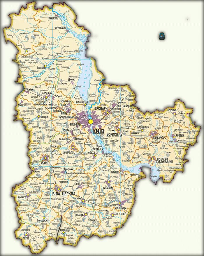Карта Киевской области