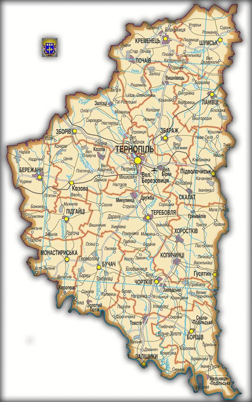 Карта Тернопольской области
