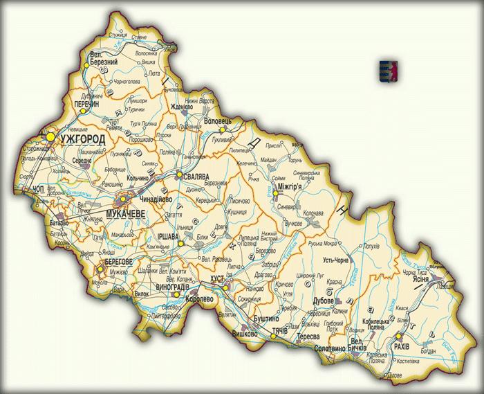 Карты Закарпатской области