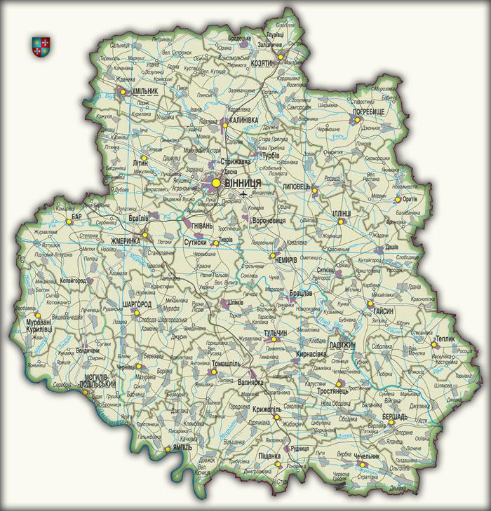 Карта Винницкой области