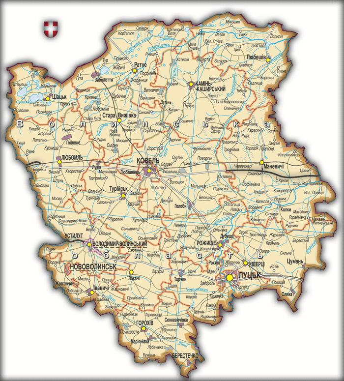 Карта Волынской области