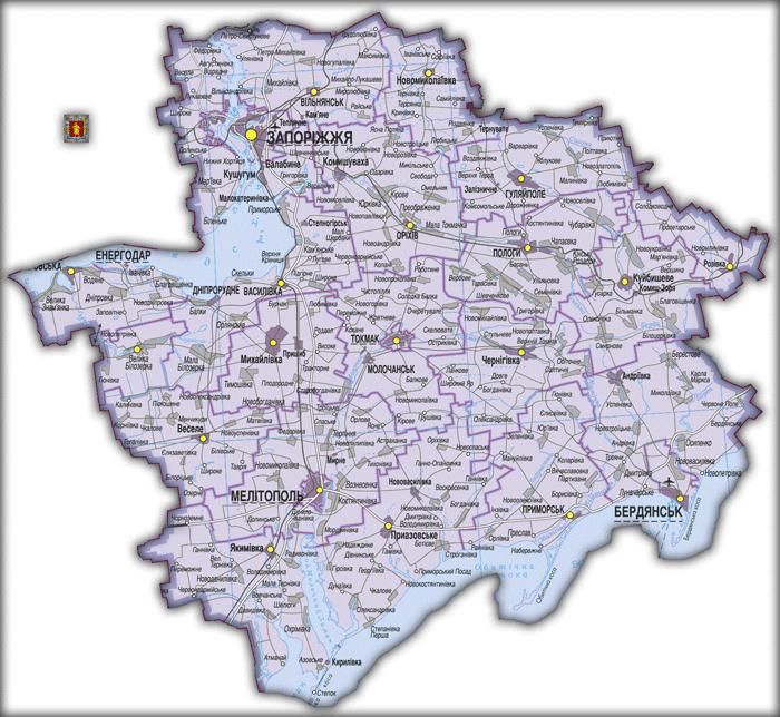 Карта Запорожской области
