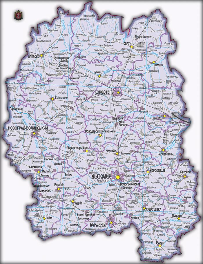 Карты Житомирской области