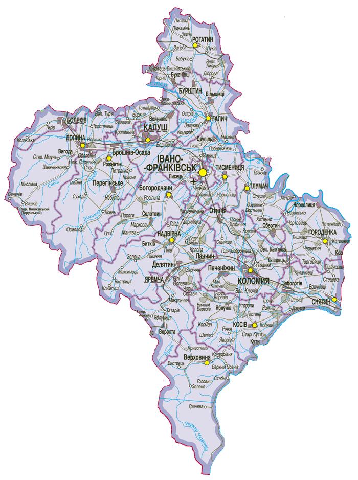 Карта Ивано-Франковской области