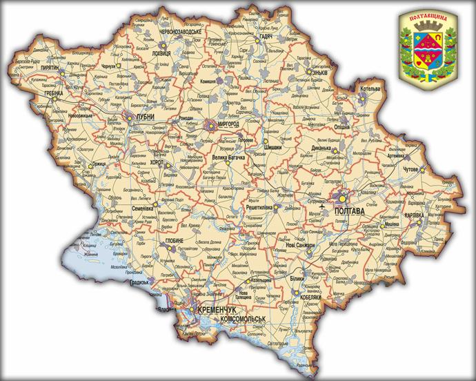 Карта Полтавской области