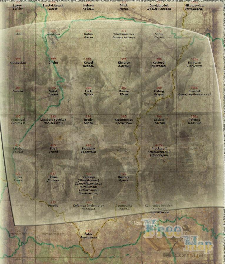 Военные немецкие карты Украины 1 км