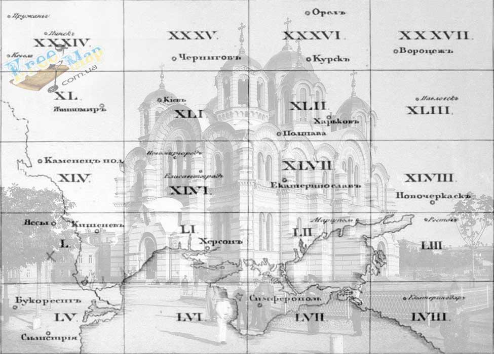 Карта одноверстовка Черниговской губернии