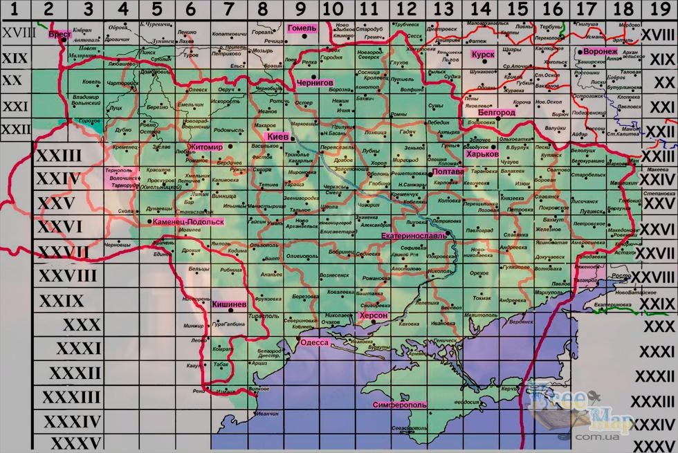 Карты трехверстовки новой редакции